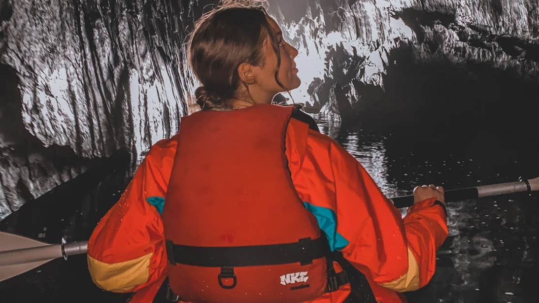Roz Purcell kayaking through a cave on Lough Hyne