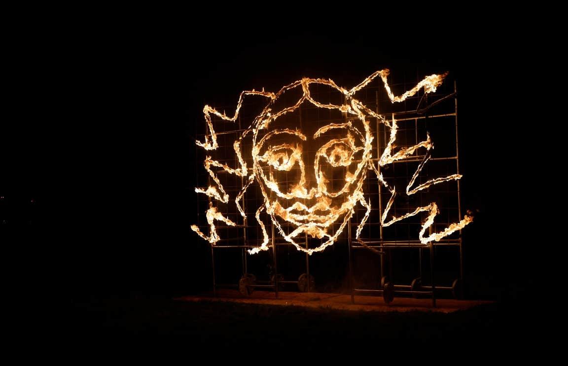 A Halloween-themed light installation
