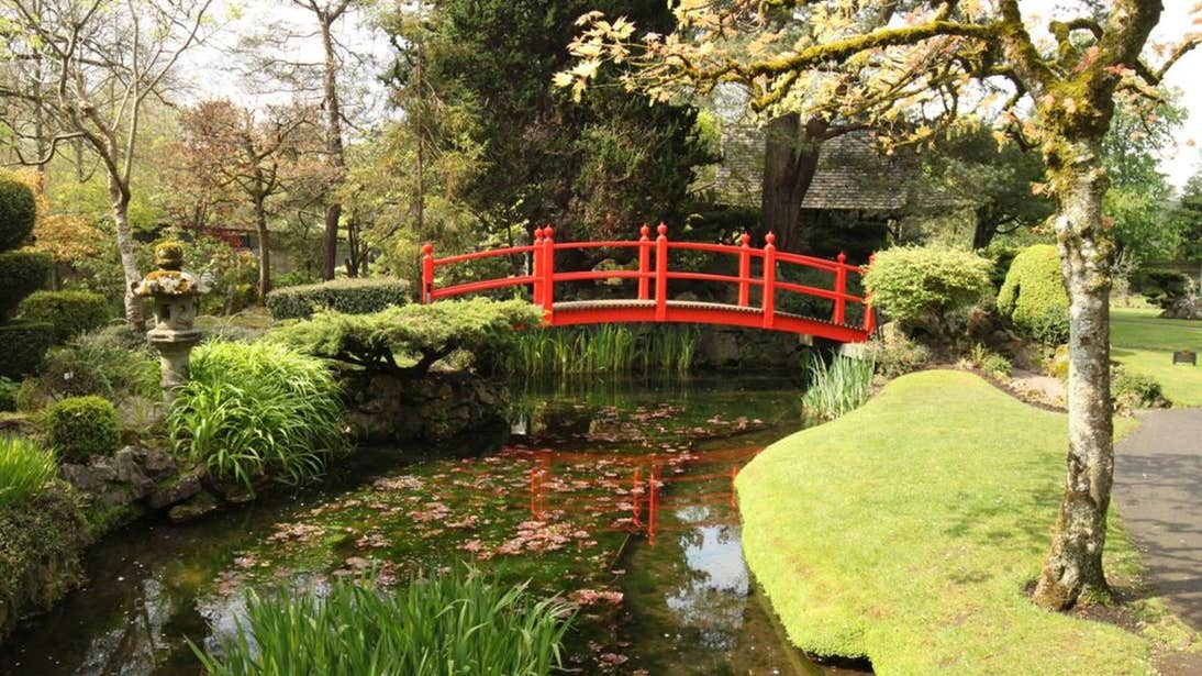 A red bridge over the water at the Japanese Gardens, County Kildare