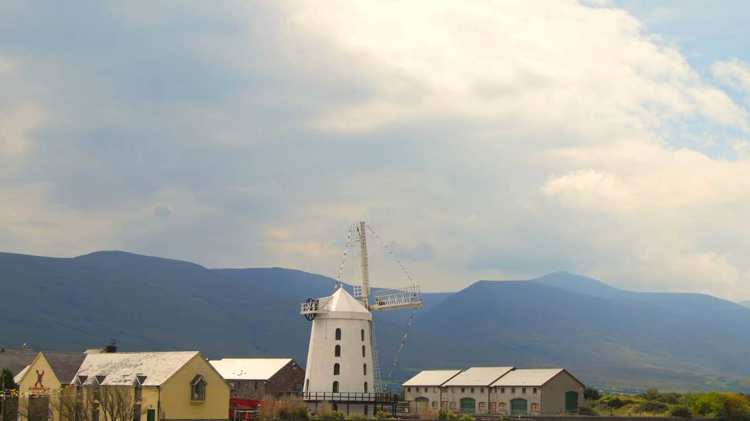 The tall, white Blennerville Windmill, Kerry