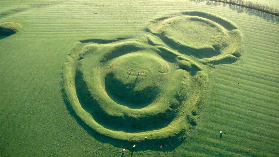 An aerial view of the remains of Hill of Tara, County Meath