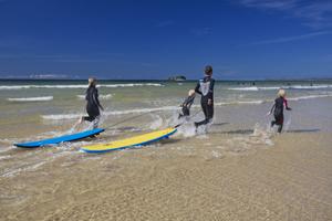 Surfers in Pollan Bay