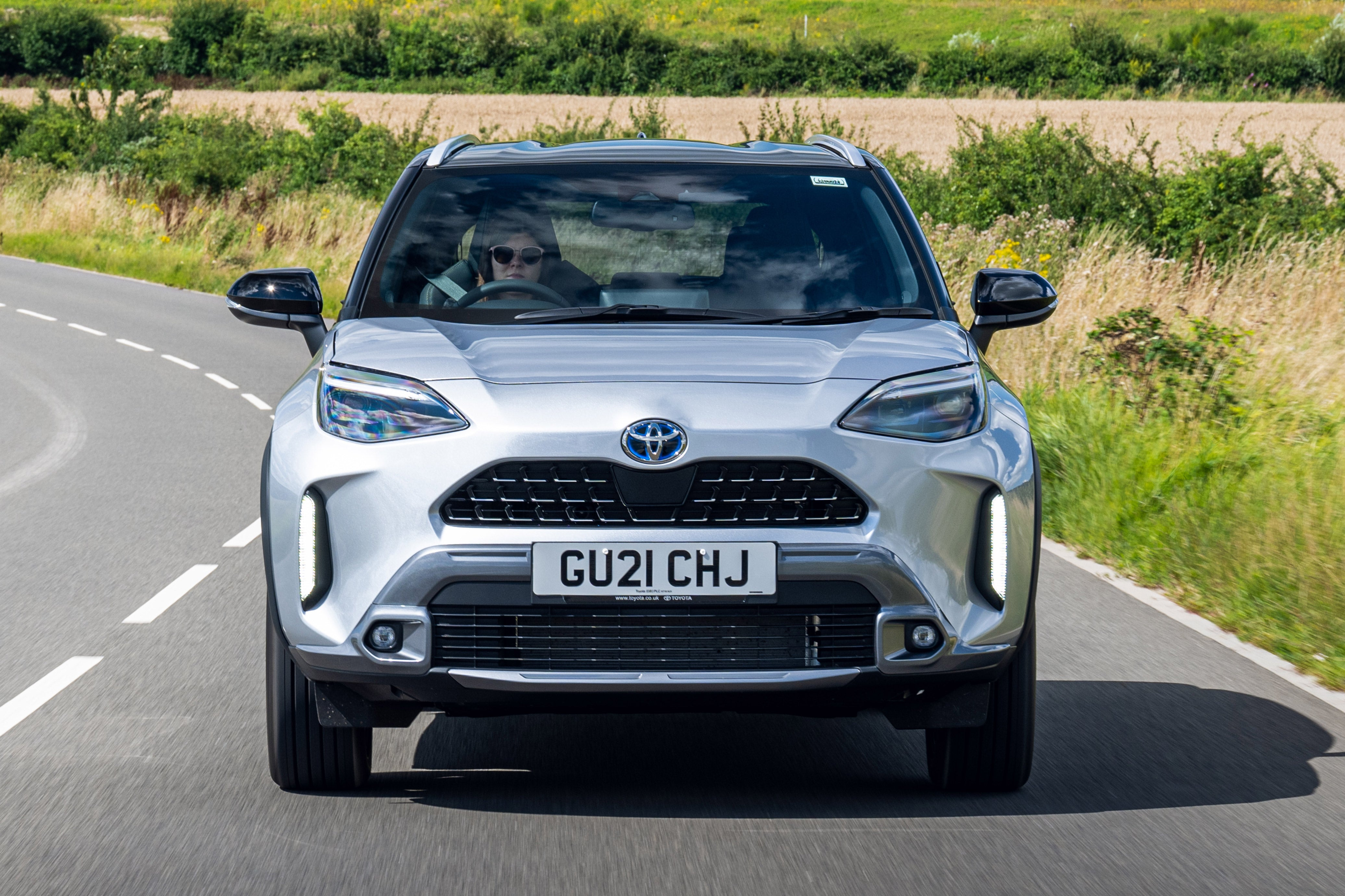 Toyota Yaris Cross Review: silver car front moving