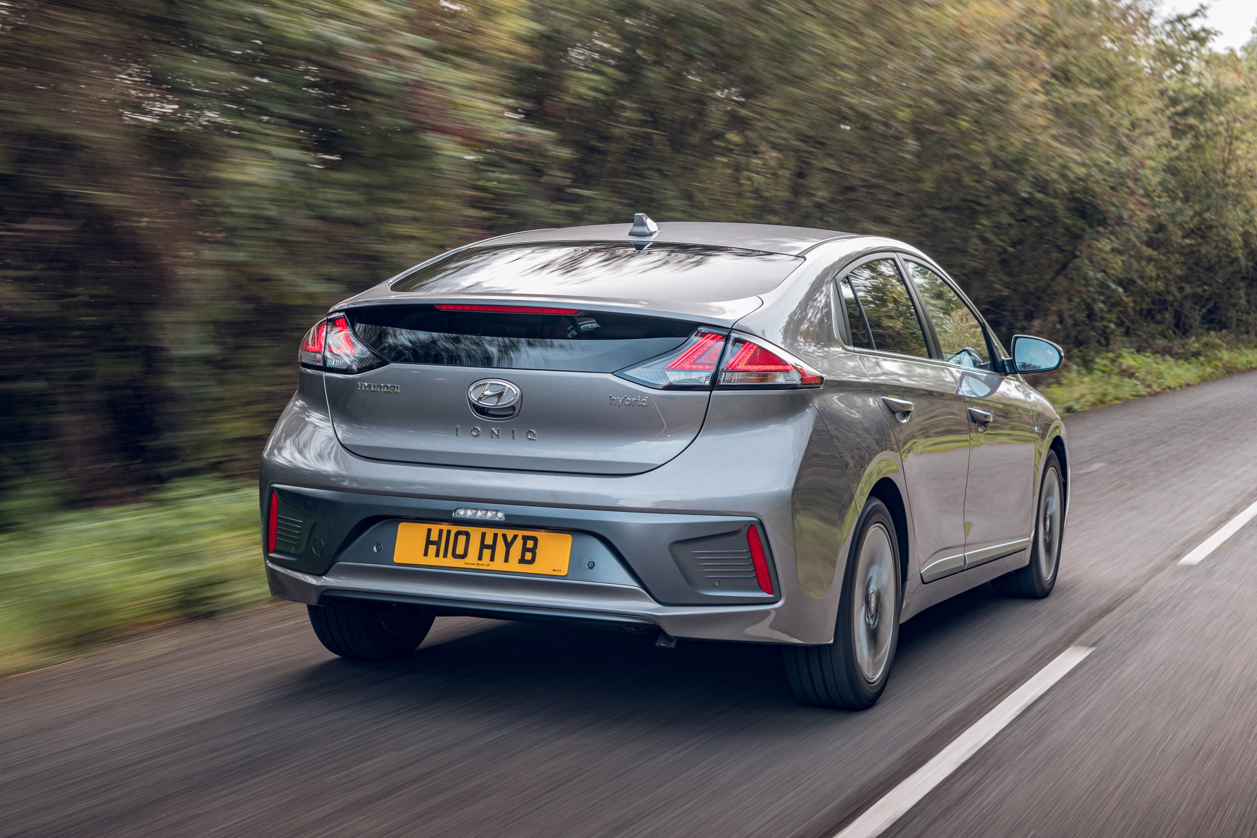 Hyundai Ioniq on road