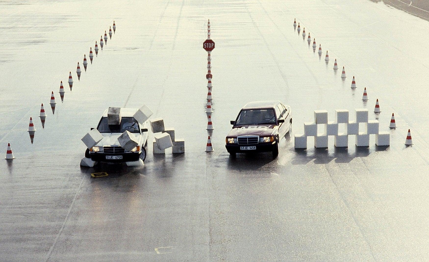 Mercedes 190E ABS brake test