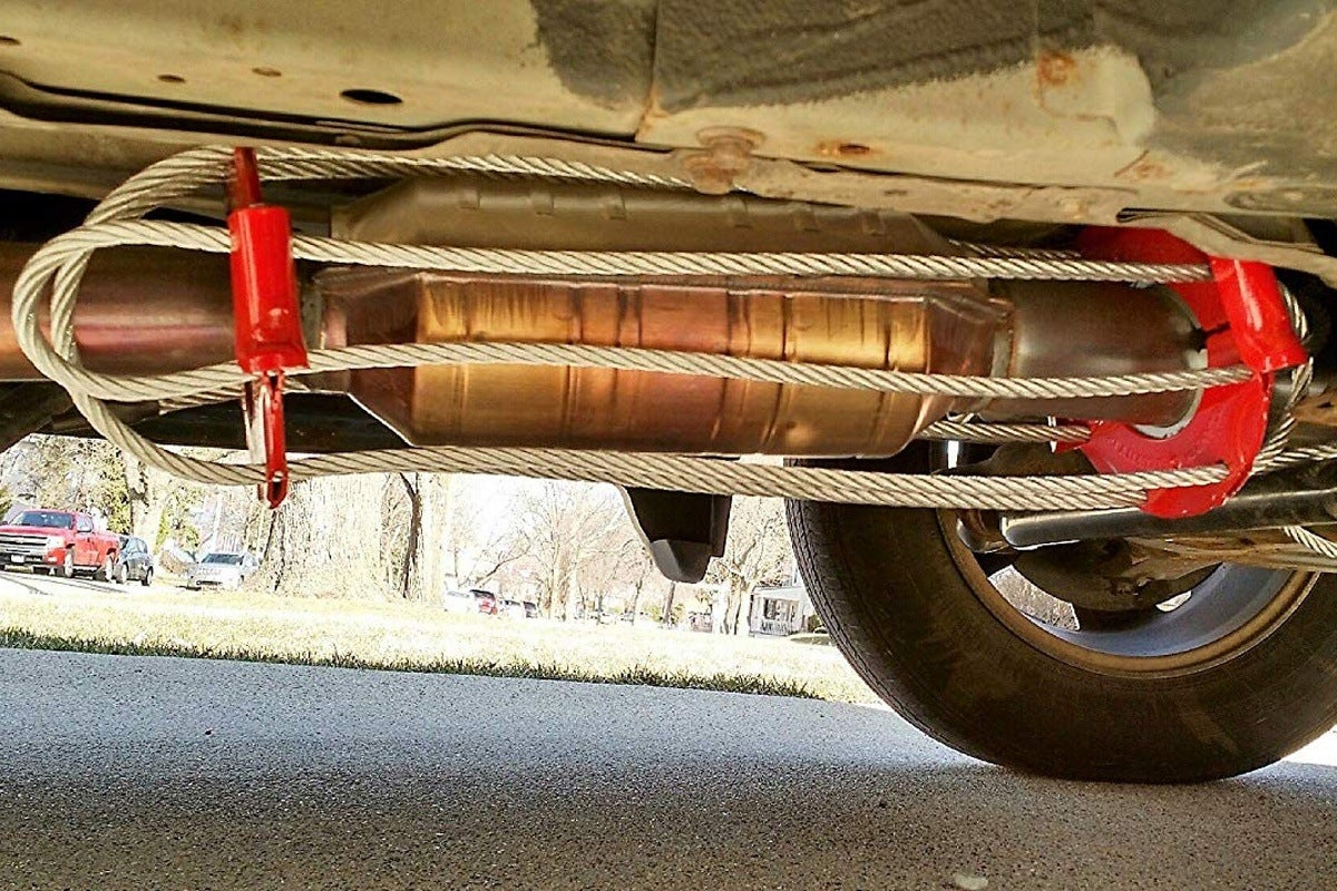 Catclamp prevents thieves from being able to access the catalytic converter