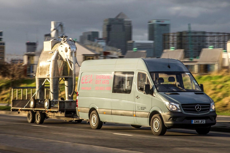Mercedes Sprinter towing trailer