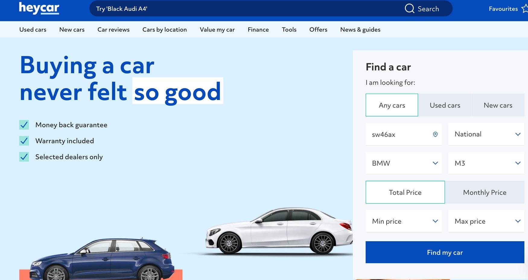 heycar homepage graphic