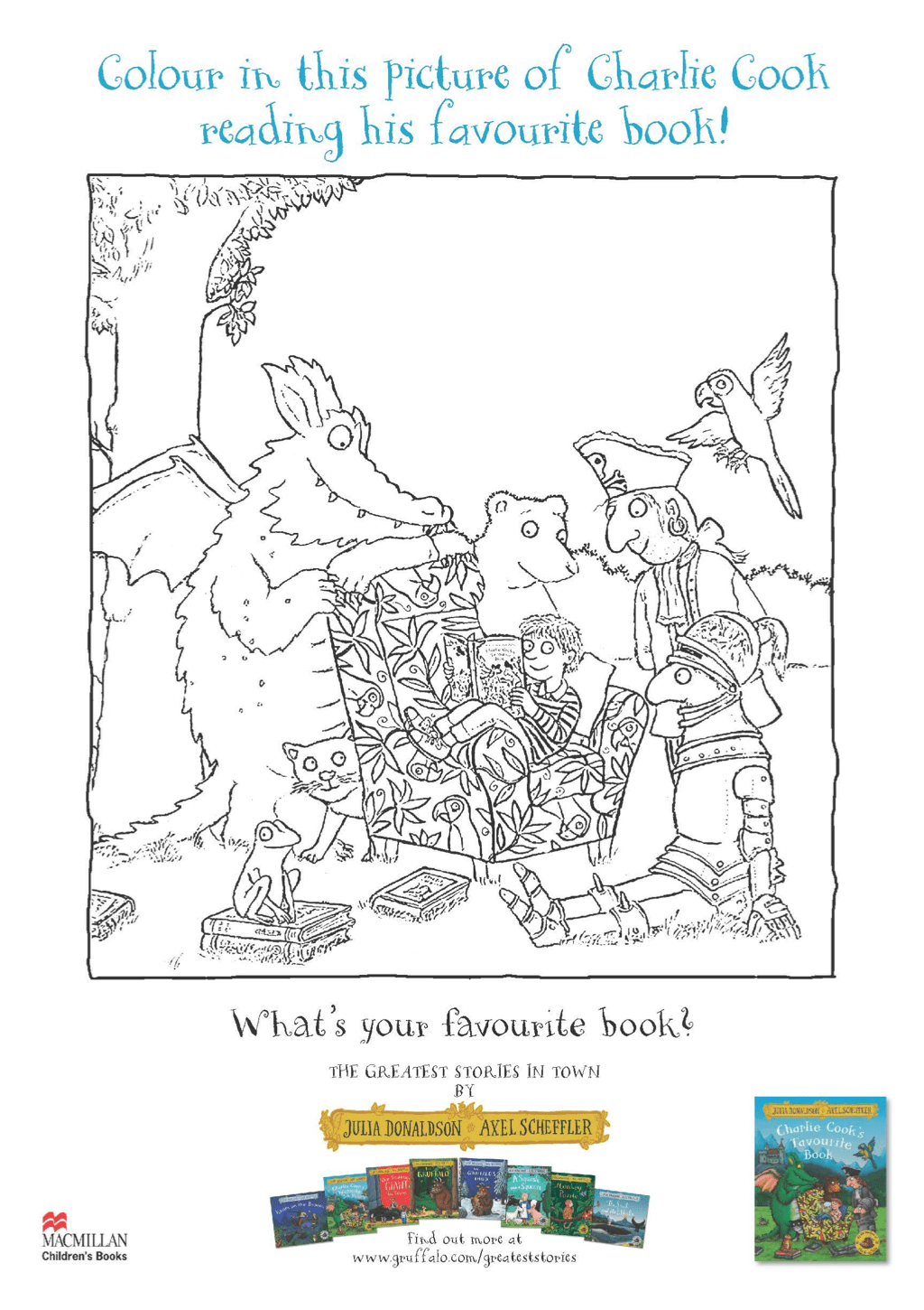 colouring sheet - Charlie Cook's Favourite Book