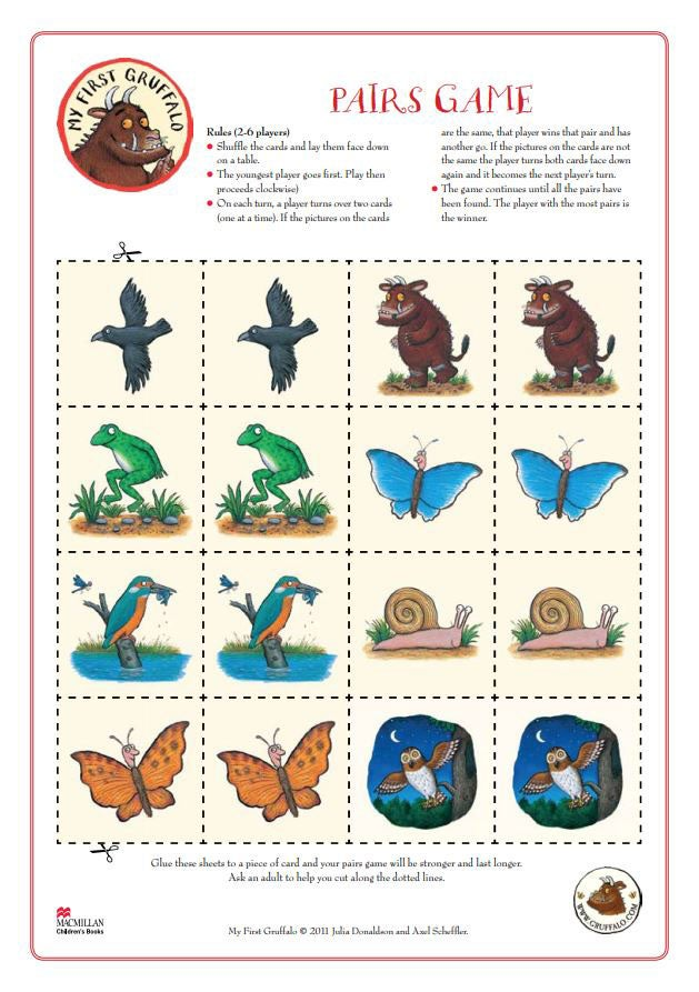 Activity sheet - pairs memory game - The Gruffalo - Julia Donaldson- Axel Scheffler