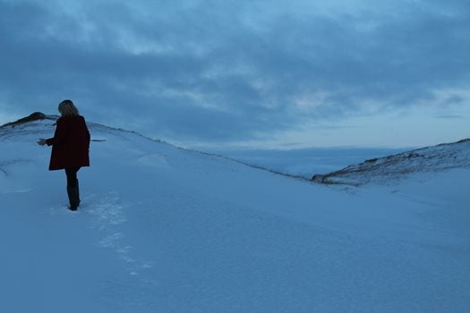 A figure stood alone on a snowy embankment.