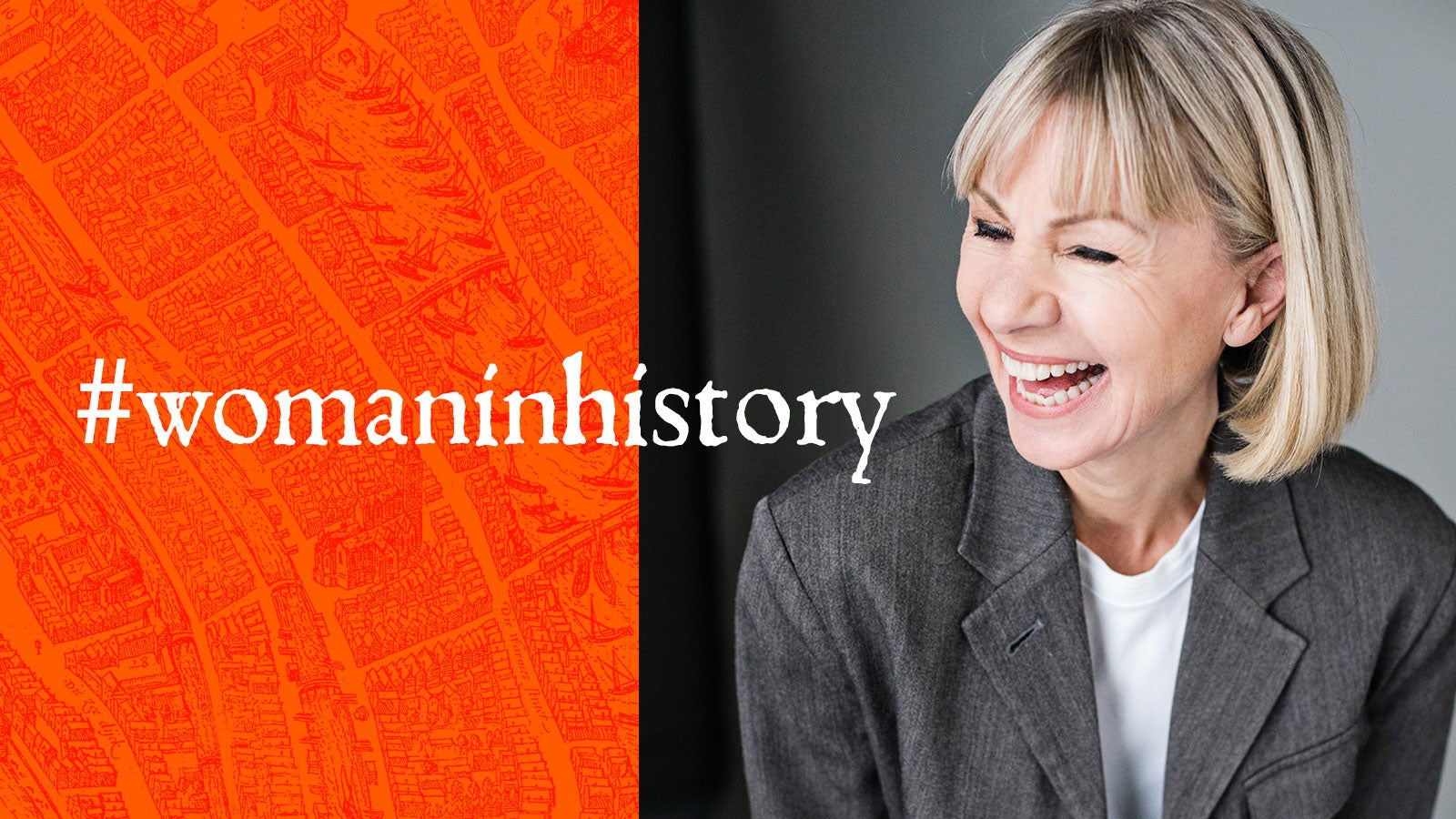 Author Kate Mosse laughing, next to the words #womaninhistory