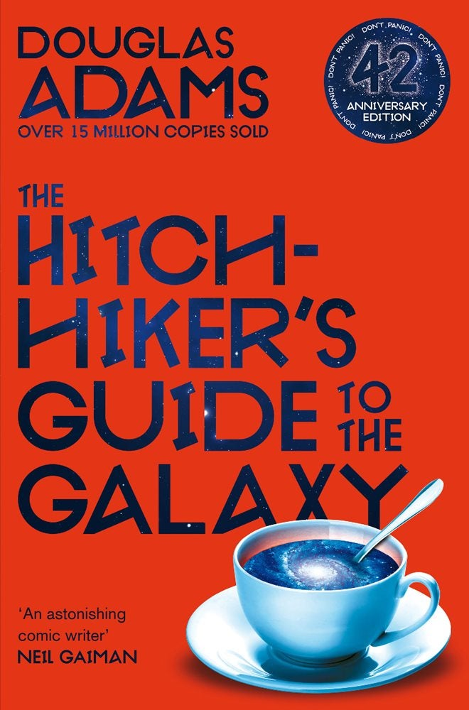 The 42nd anniversary cover of The Hitchhiker's Guide to the Galaxy.