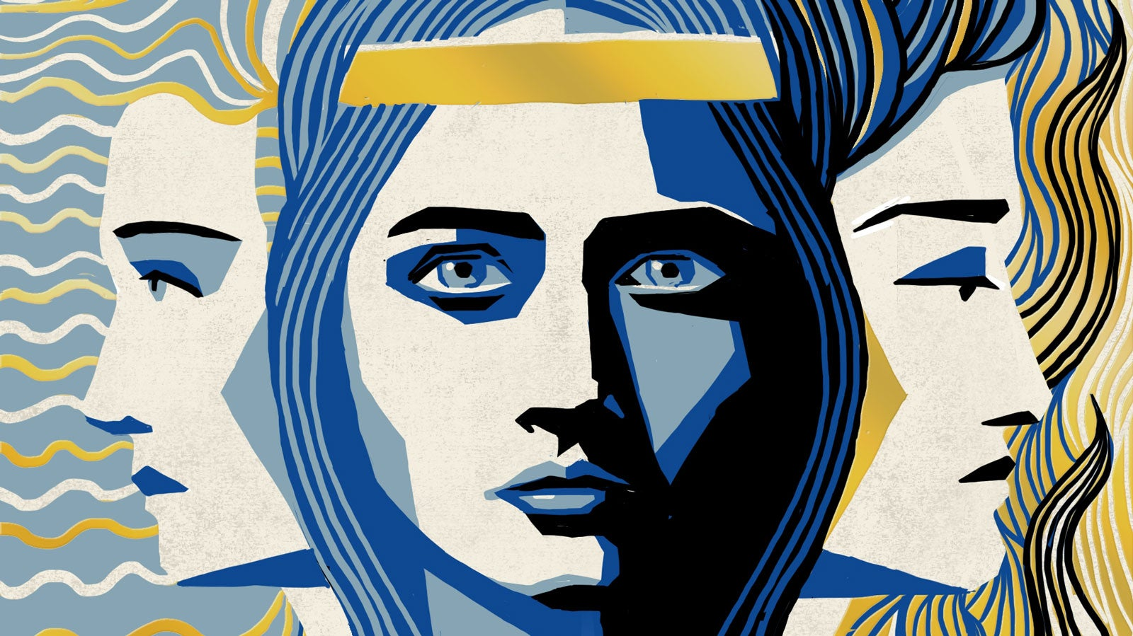 An illustration in shades of blue and yellow of three women, one looking directly forward, the other two looking in opposite directions behind her