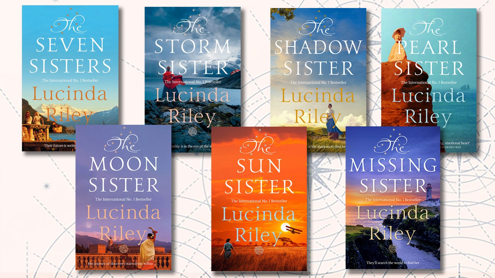 Book covers for each of Lucinda Riley's Seven Sister books on a pink background