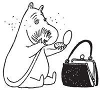 Black and white drawing of Moominmamma powdering her face with her tail