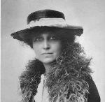Black and white photograph of Katharine McCormick wearing a hat and a fur collar