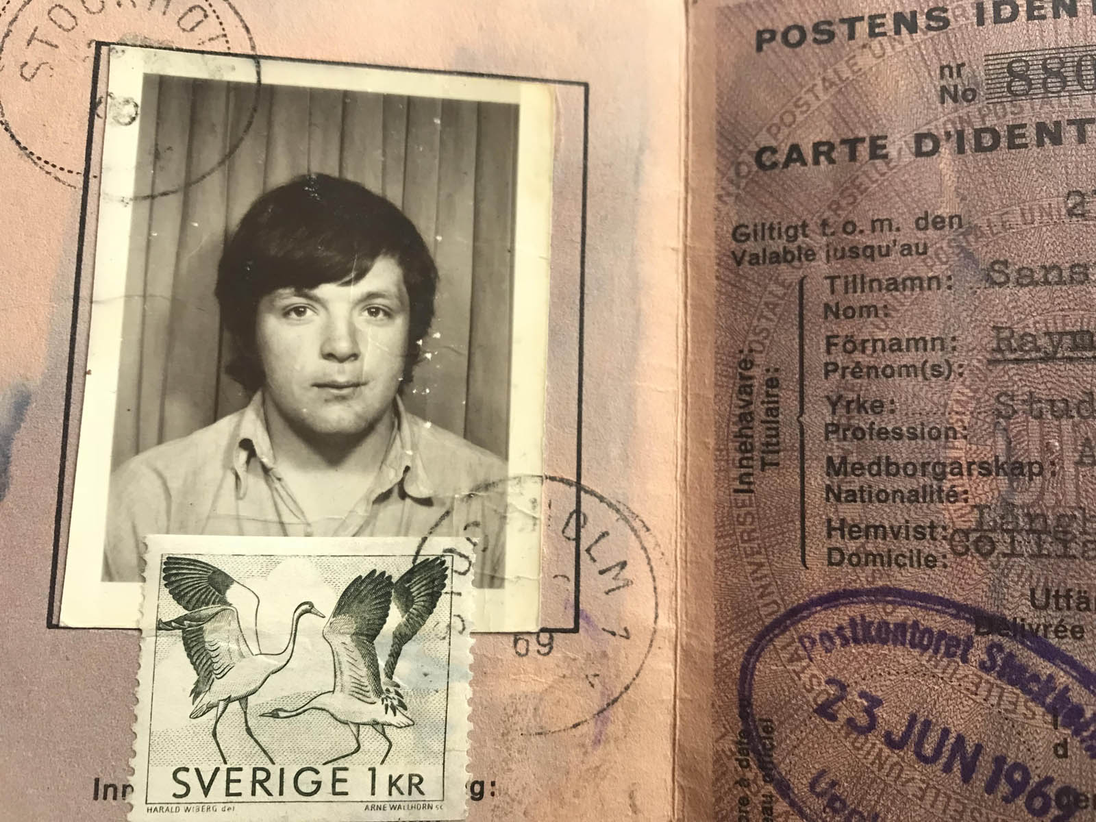 Ray Sansiviero Swedish identity card 1969