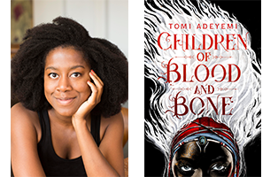 Tomi Adeyemi smiling with her head resting on her hands next to her book Children of Blood and bone