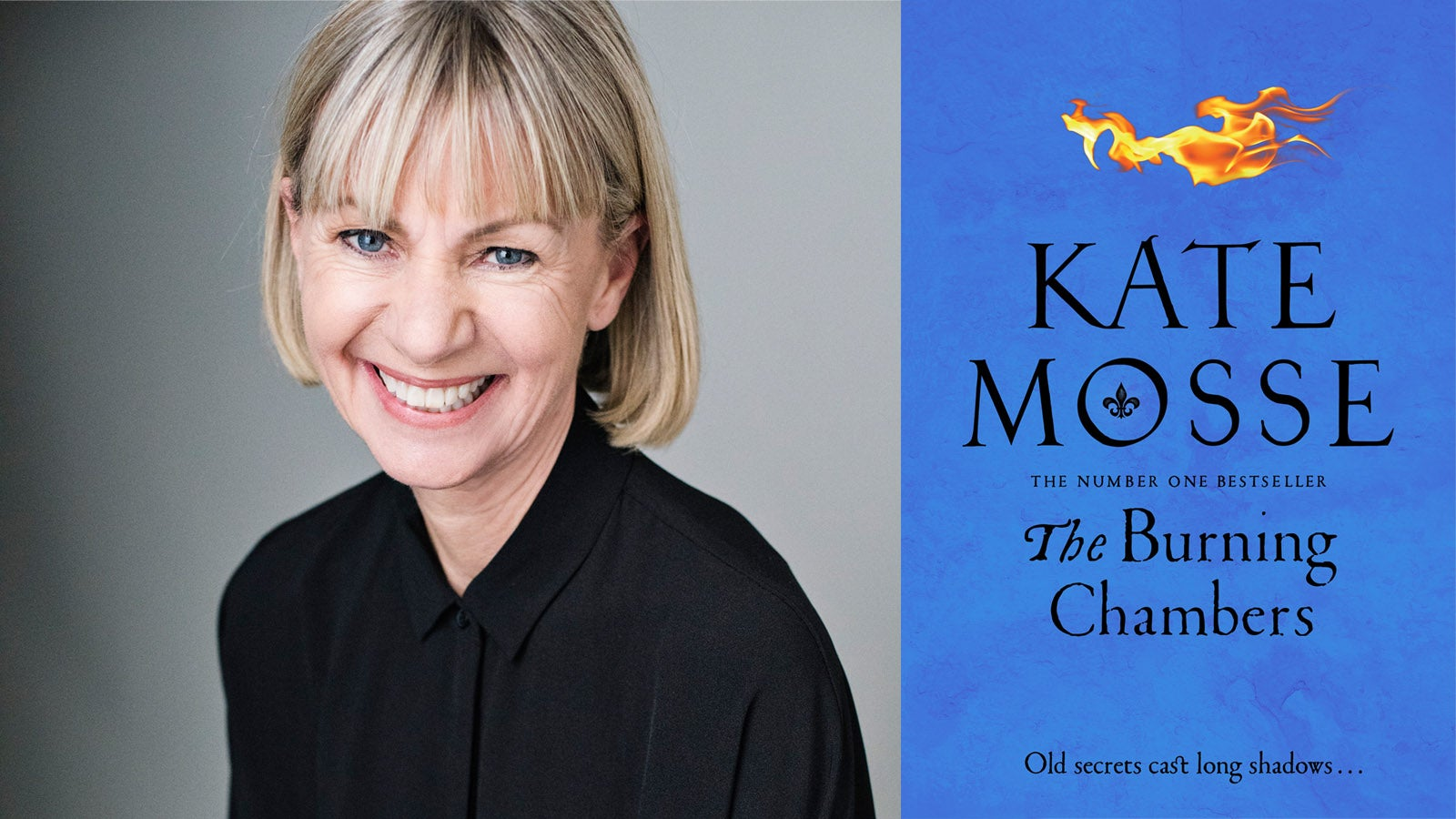 The Burning Chambers by Kate Mosse book cover and author photo