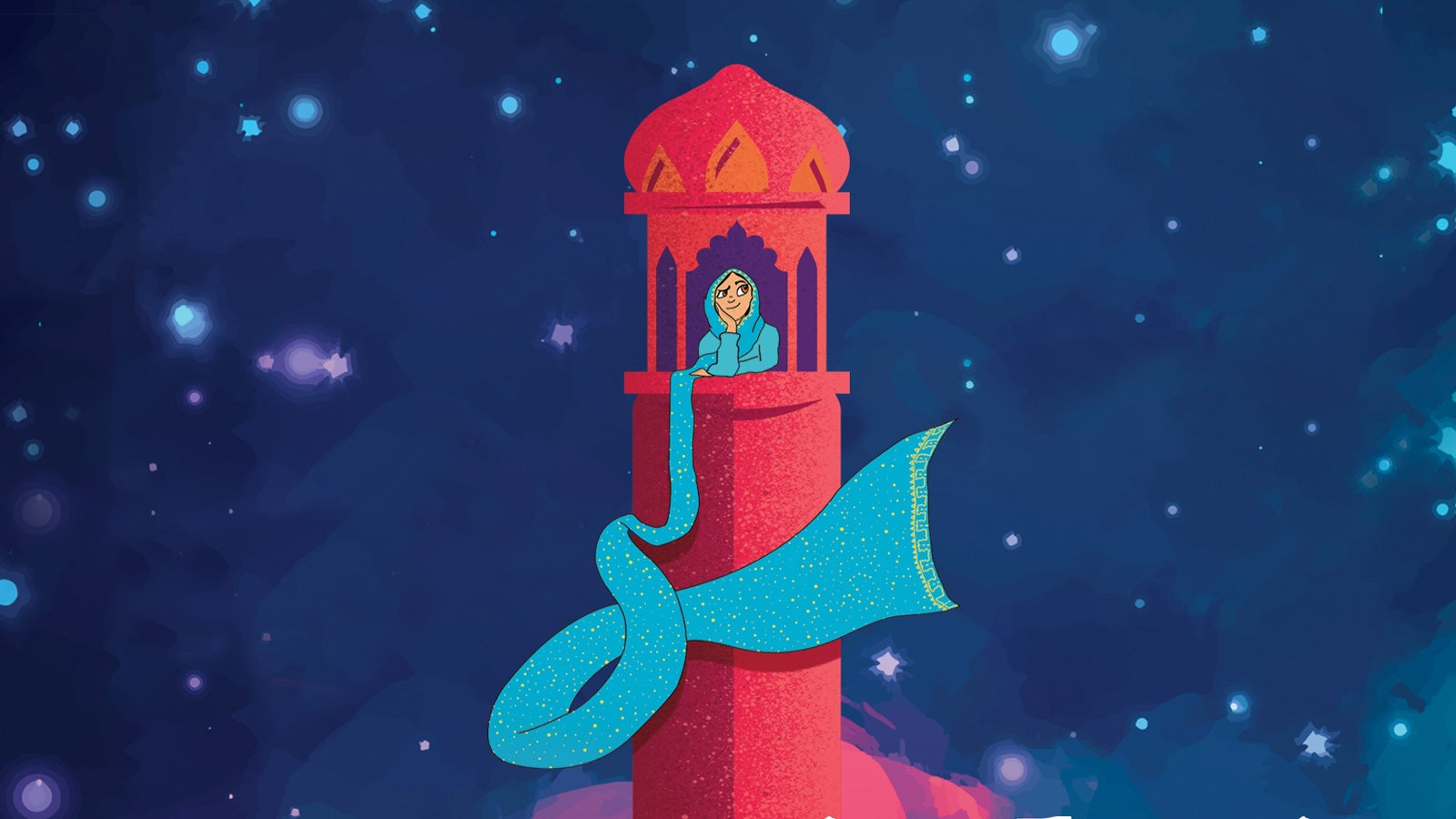 An illustration of Rumaysa staring out from a tower with her hijab flowing from the window, against a starry sky