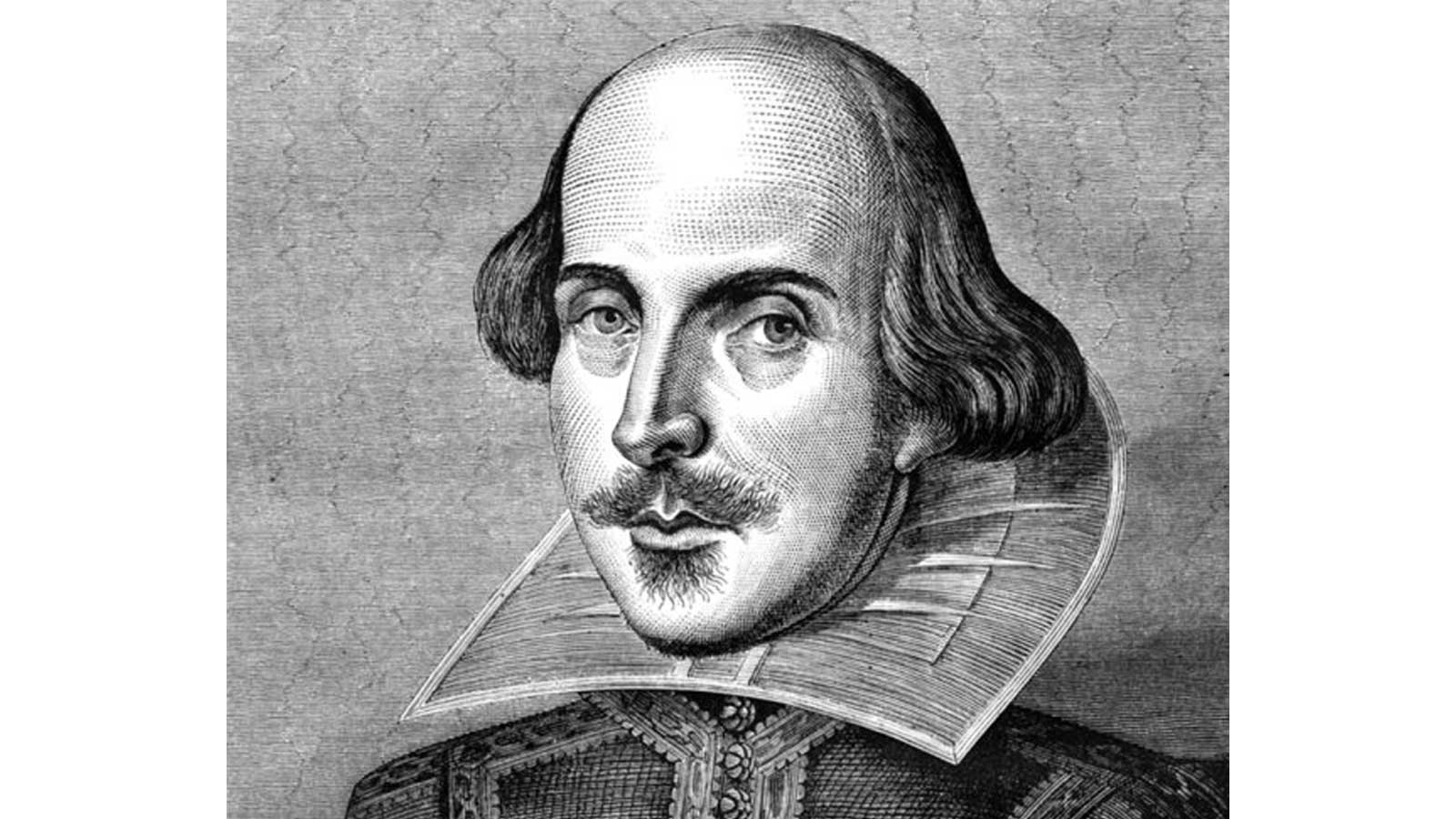 Black and white drawn portrait of Shakespeare