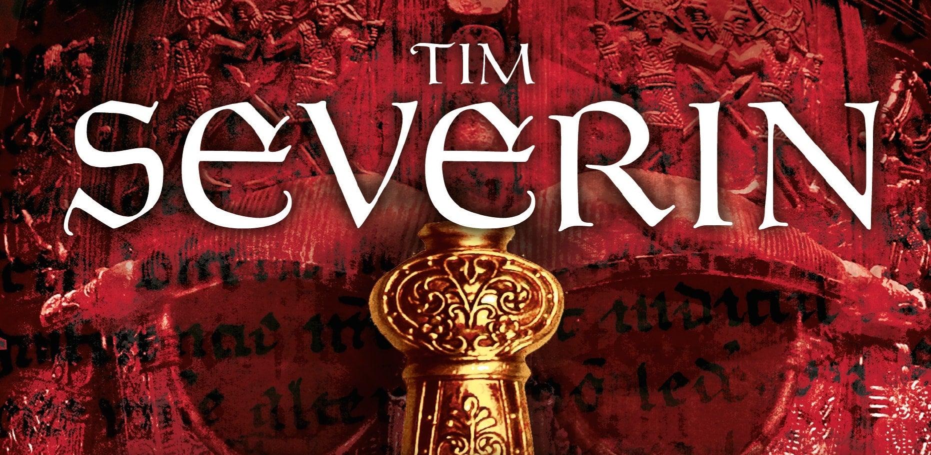 Tim Severin written in white on red background