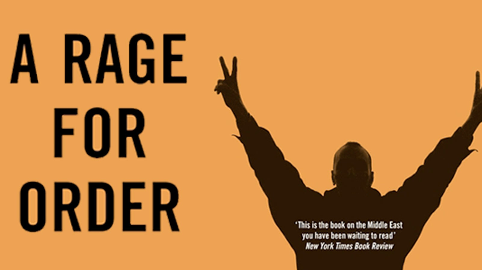 The silhouette of a man holding his hands in the air next to the words 'A RAGE FOR ORDER'
