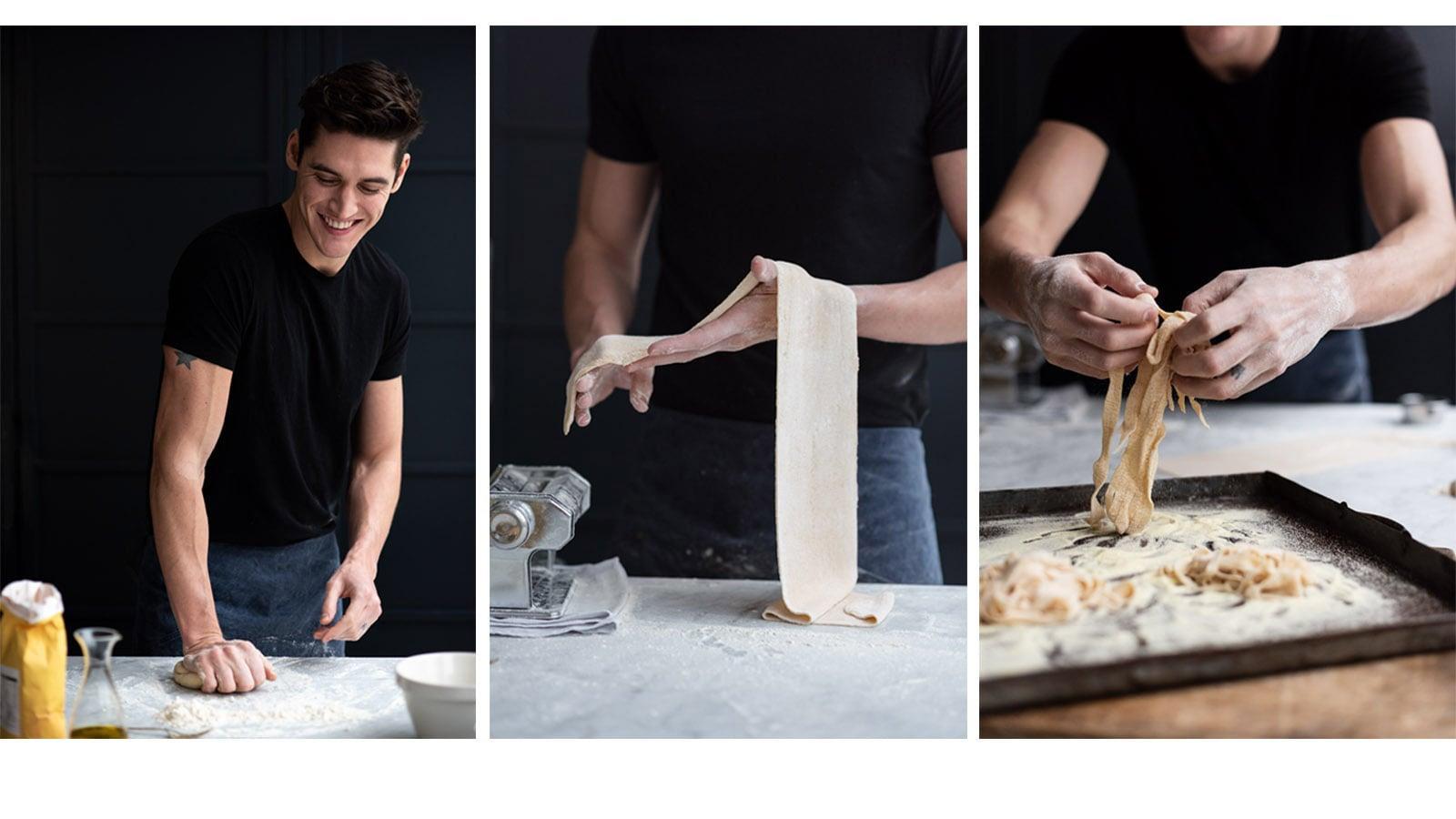 Issac Carew making fresh pasta