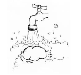 Illustration of soap foam and tap