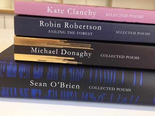 Picador poetry books stacked together