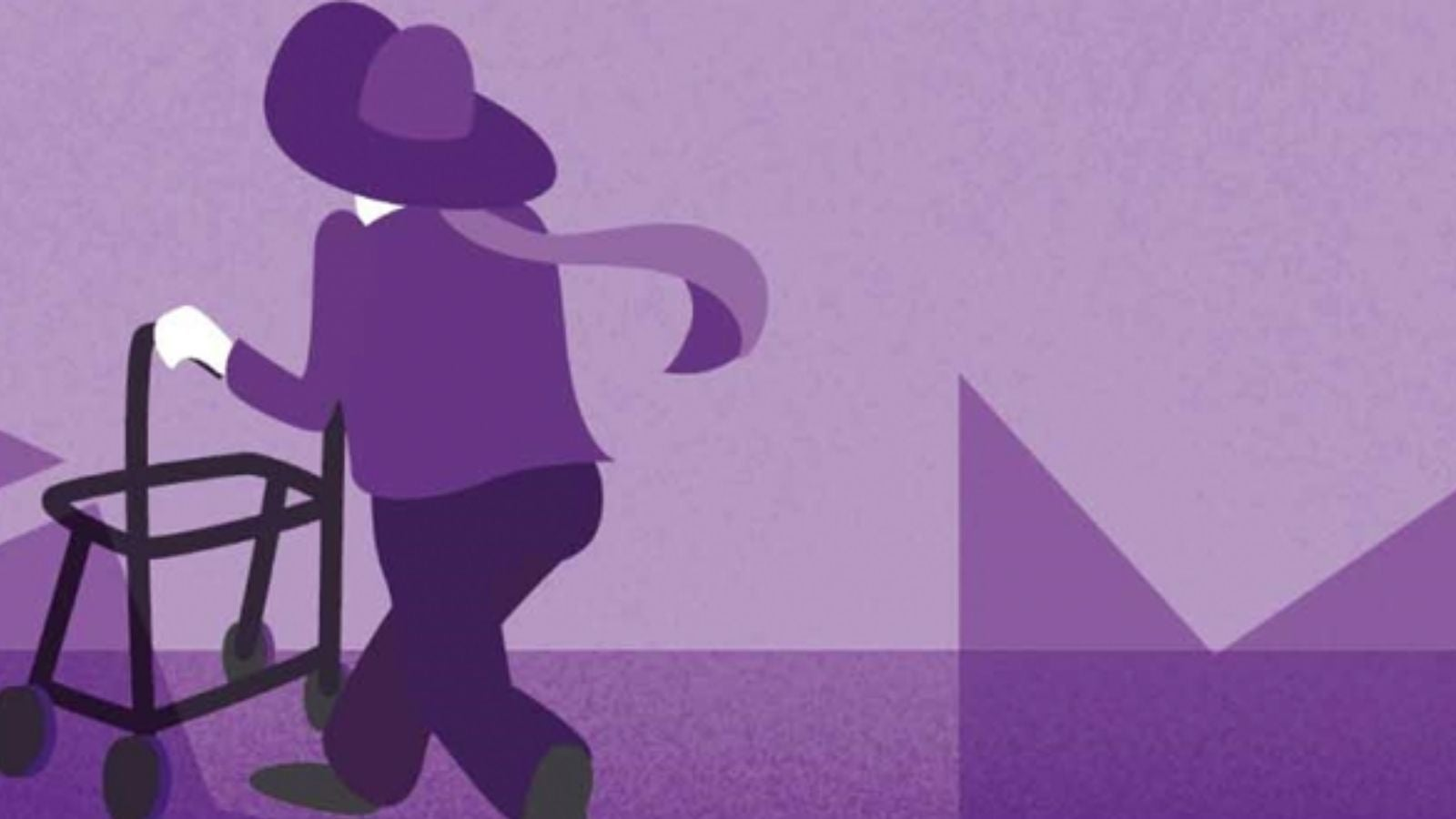 Purple illustration of woman walking with zimmer frame