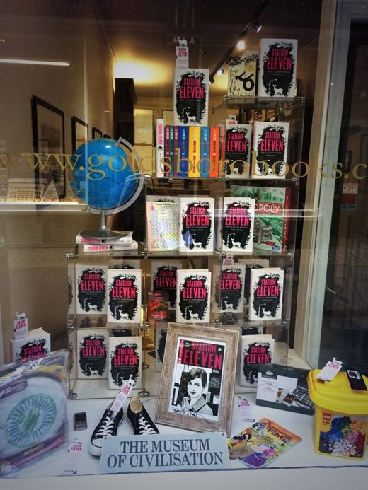 Goldboro Books shop window display of Station Eleven