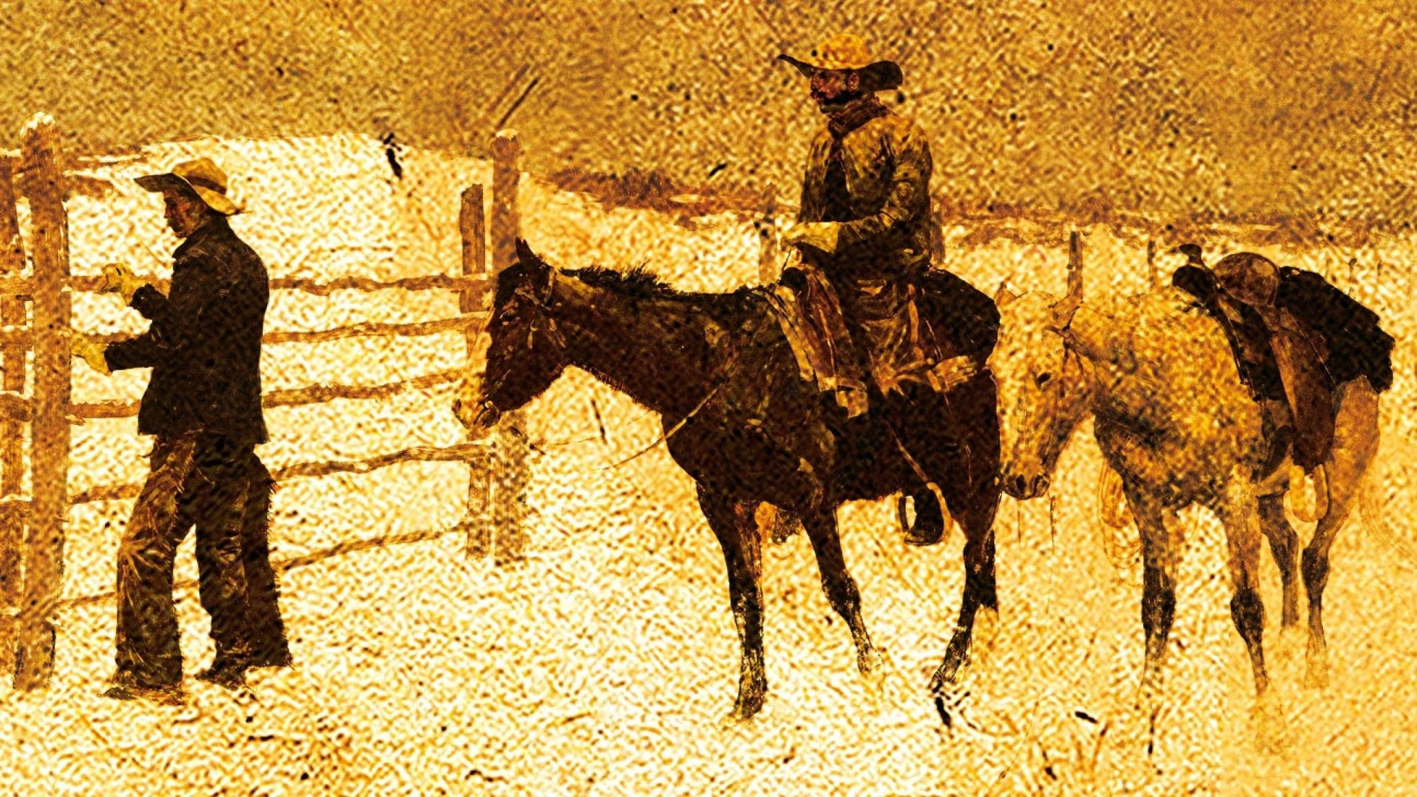 old abstract painting of two cowboys, taken from the cover of The Last Kind Words Saloon