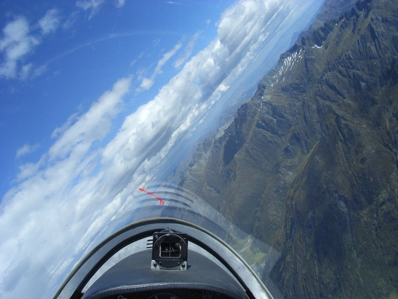 A steep turn above the Southern Alps, New Zealand.