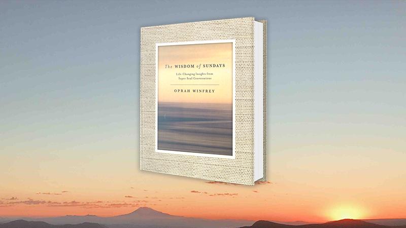 The Wisdom of Sundays book jacket against a sunset background