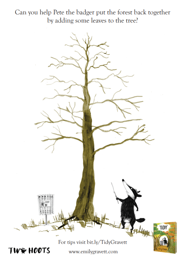 A badger looking up at a very tall tree with bare branches ready for finger painting leaves