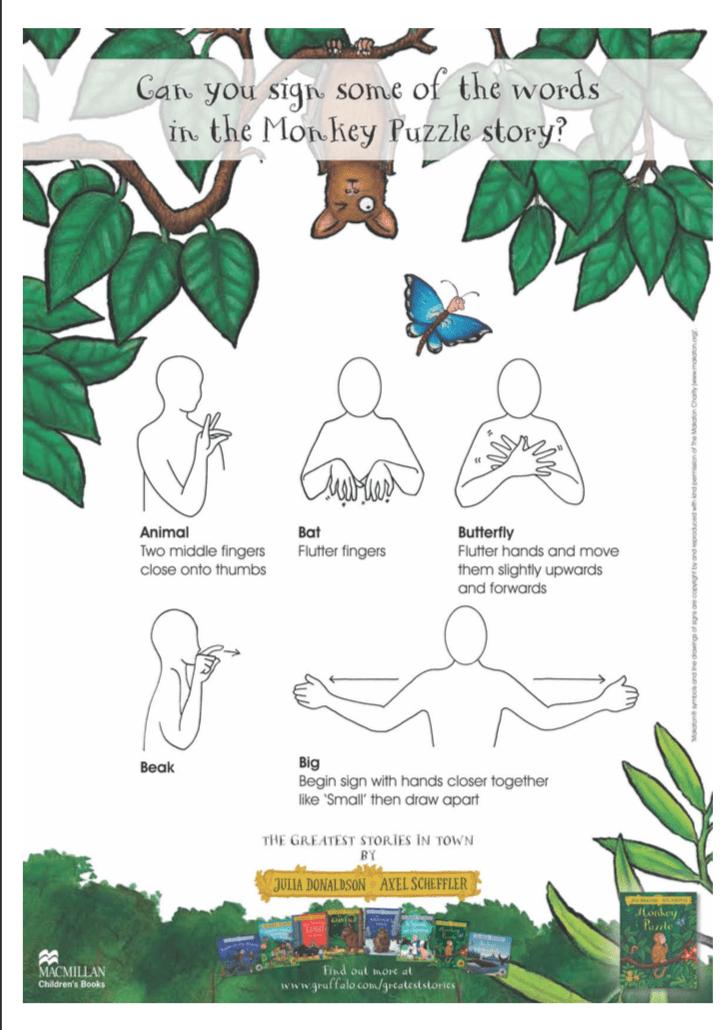 Monkey Puzzle sign language activity sheet
