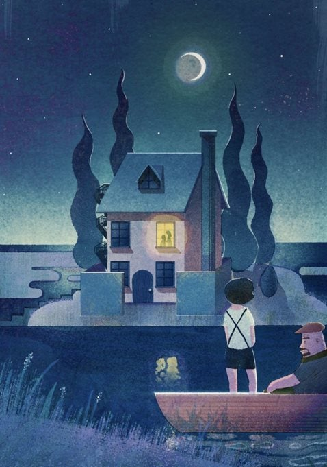 illustration of two people on a boat in front of a house at night