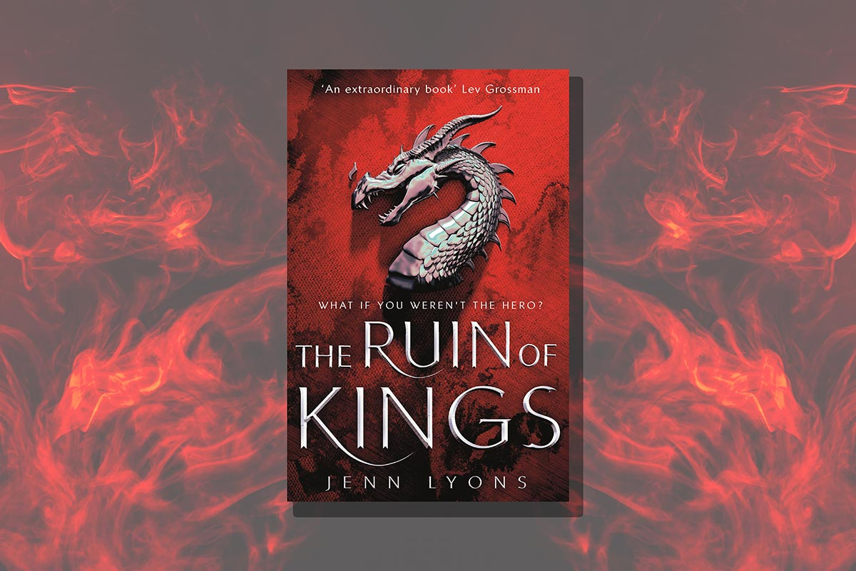 Book cover of The Ruin of Kings on a background of red flames