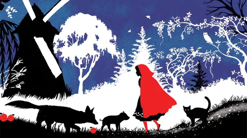 an illustration of little red riding hood, her cap in red, with the silhouettes of a forest, windmill, piglet, wolf and cat in the background against a night sky