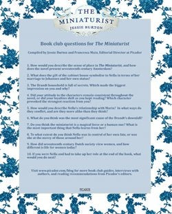 the book club questions surrounded by an ornate blue border, with the title as it displays on the book's cover, above