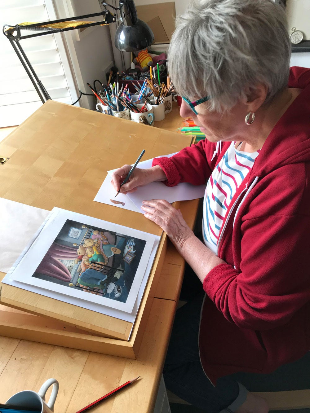 Jill Murphy in her studio. Credit Nic Knight