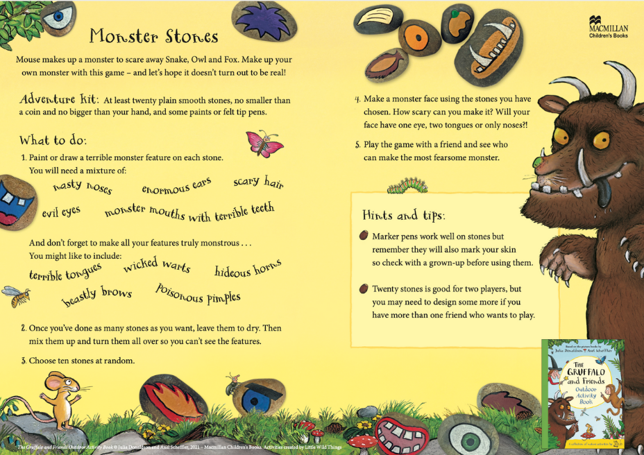 Activity Sheet - Monster Stones - The Gruffalo and Friends Outdoor Activity Book - Julia Donaldson - Axel Scheffler