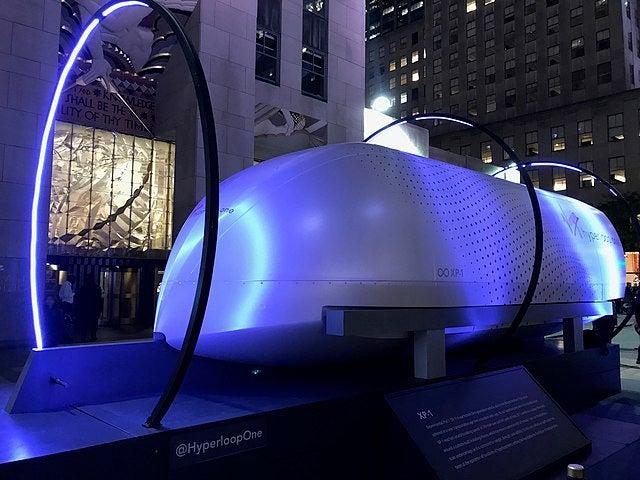 Virgin Hyperloop One XP-1 test pod on display at Rockefeller Center