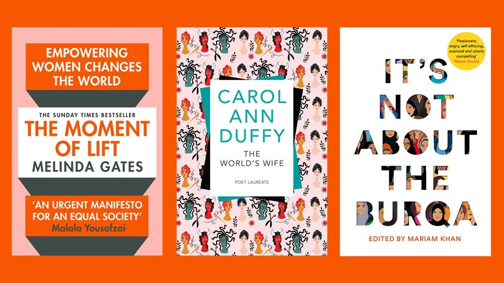 Book covers of the Moment of Lift, The World's Wife and It's Not About The Burqa