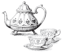 Illustration of ornate teapot and two china teacups from Alice in Wonderland.