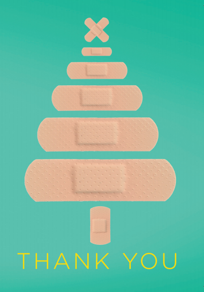 printable Thank You card showing plasters arranged in the shape of a Christmas tree in a light green background on the front cover