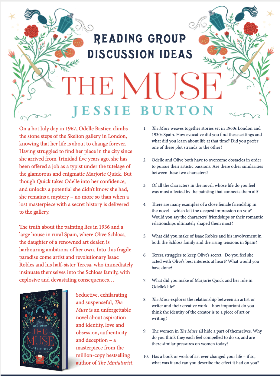 The Muse by Jessie Burton book club questions