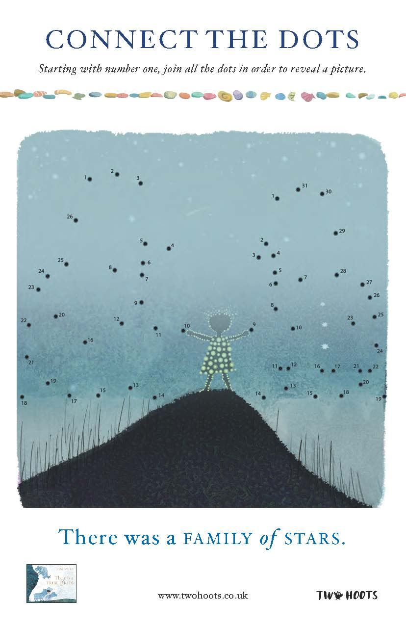 the back of a child holding their arms up, standing on a small hill looking out to a misty night sky which is strewn with dots to connect